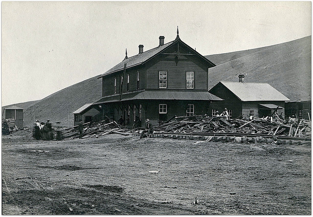 UPRR depot after Heppner flood, 1903, historic photo--photographer unknown